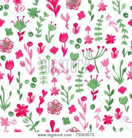 Watercolor drawings seamless pattern with cute flowers and plants. Vector illustration for wallpapers, scrapbooking, textile or wrapping design.