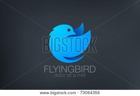 Abstract Flying Bird Logo design vector template. Soaring Bird Circle shape Logotype concept icon.