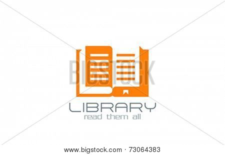 Open Book Logo design vector template. Knowledge symbol. Education Logotype silhouette icon.