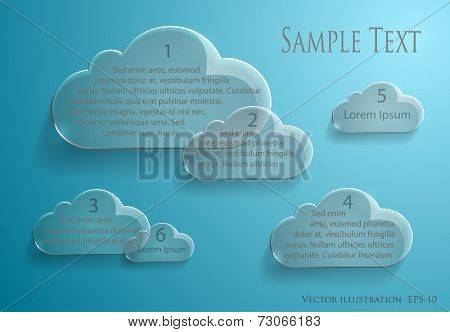 Vector illustration of business  template on transparent shiny cloud shapes