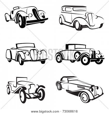 set of six monochrome retro cars