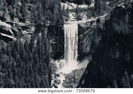 Waterfalls in Yosemite National Park in California BW