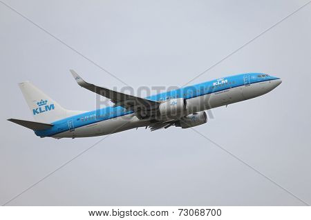 BUDAPEST, HUNGARY - MAY 06: KLM airliner taking off at Budapest (LHBP), May 6th 2014. KLM Royal Dutch Airlines is the flag carrier airline of the Netherlands