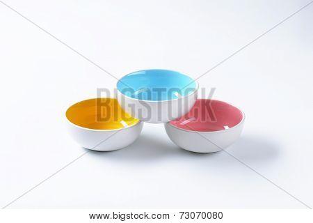 formed empty ceramic bowls