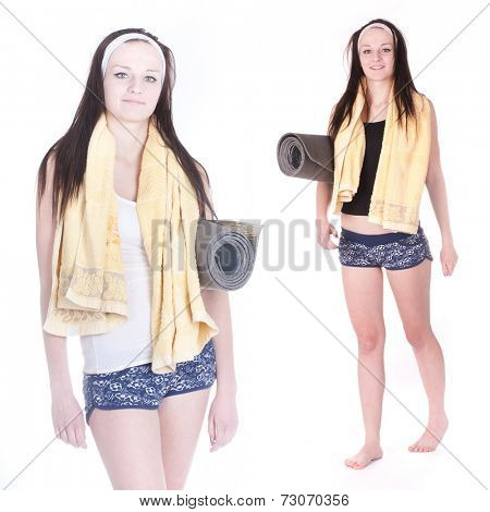 Girl with a towel and beach mattress