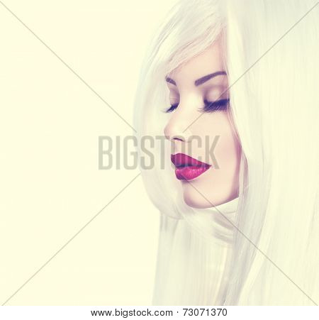 High fashion portrait of beauty model girl with white hair and red lipstick. Luxury make-up and hairstyle, white smooth shiny hair, red sensual lips