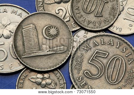 Coins of Malaysia. Malaysian Houses of Parliament at the Lake Gardens in Kuala Lumpur depicted the Malaysian sen coins.