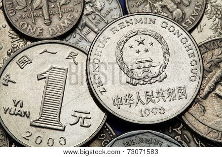 Coins of China. National emblem of China depicted in the Chinese one Yuan coin.