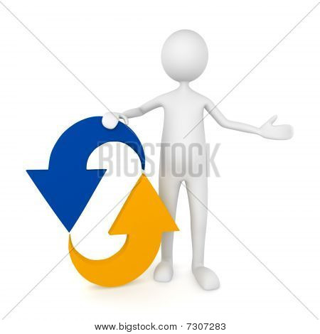 Man leaning to recycle icon