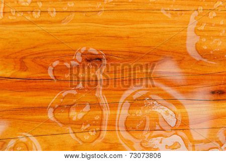 water drops on a wooden background