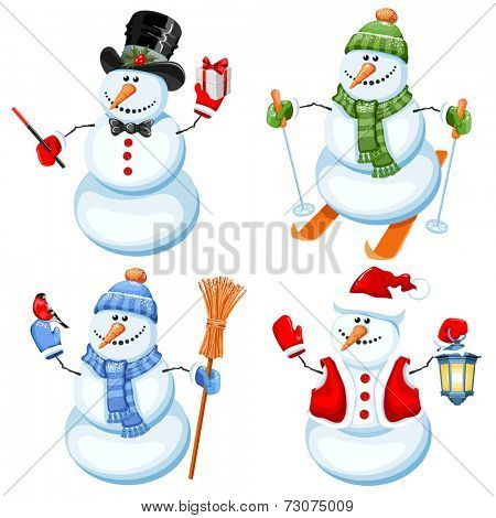 Set of cute snowman in different roles
