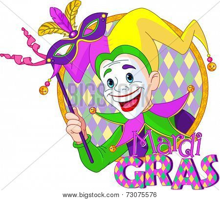 Cartoon design of Mardi Gras Jester holding a mask. Raster version