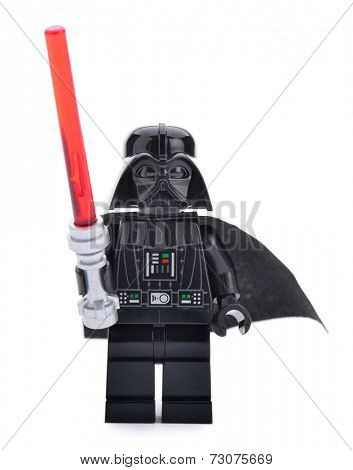 Ankara, Turkey - April 06, 2013: Close- up of a Lego Star Wars Darth Vader with sword isolated on white background.