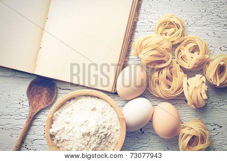 the tagliatelle pasta with cookbook