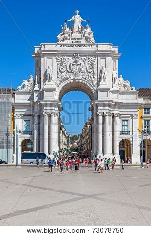 Lisbon, Portugal. August 31, 2014: Tthe iconic Triumphal Arch that connects the Augusta Street and the Praca do Comercio Square