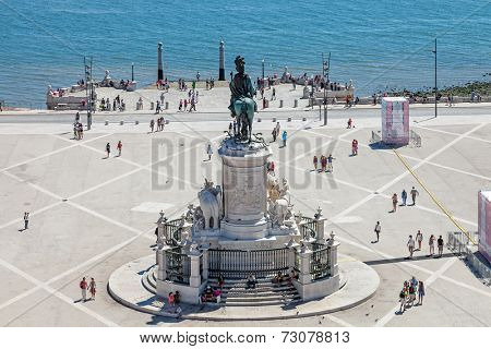 Lisbon, Portugal. August 31, 2014: Praca do Comercio  (Commerce Square) also known as  Terreiro do Paco, with the King Dom Jose statue, the Cais da Colunas (Columns Pier) and the Tagus River estuary