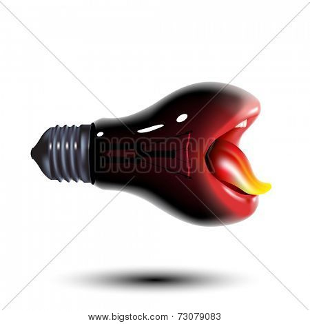black light bulb with mouth and tongue