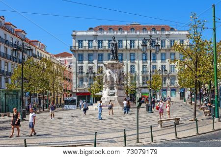 Lisbon, Portugal. August 31, 2014: Luis de Camoes Square near the Chiado and Bairro Alto Districts