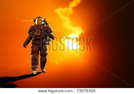Astronaut run on a red background.
