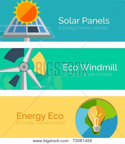 Eco-friendly energy flat design concepts, banners. Solar panels and sun, windmill, Earth and light bulb. Blue, turquoise and yellow colors