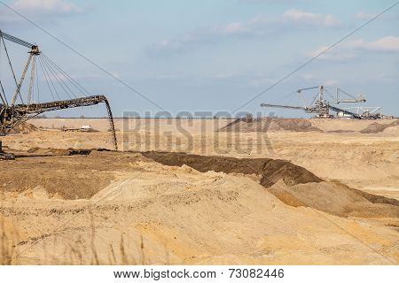 Opencast Brown Coal Mine. Giant Excavator.