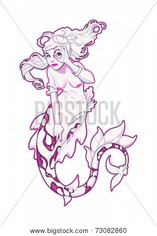 Mermaid in pink. Vector illustration, isolated character