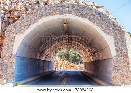 Tunnel in a mountains. Crete. Greece.