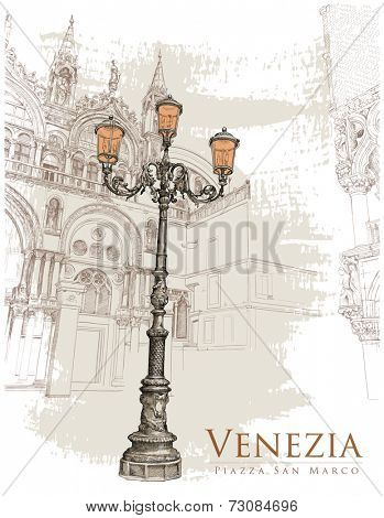 Venice. Piazza San Marco. lantern on St. Mark's Square & corner of the Doge's Palace. Vector illustration. Eps10