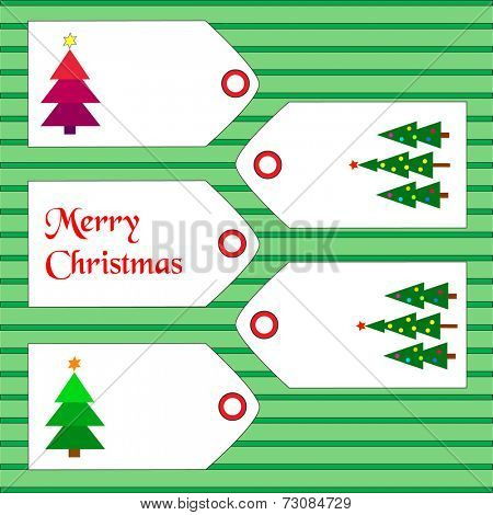 Tags with christmas tress and wishes on green lined background.