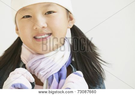 Close up of girl wearing warm clothes