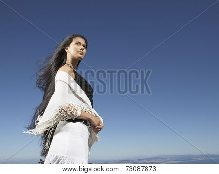 Woman staring into the distance
