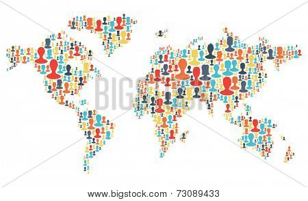 Group of colorful people silhouettes making a earth planet shape. Vector