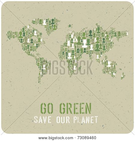 Go Green. Ecology Poster Concept. Vector.