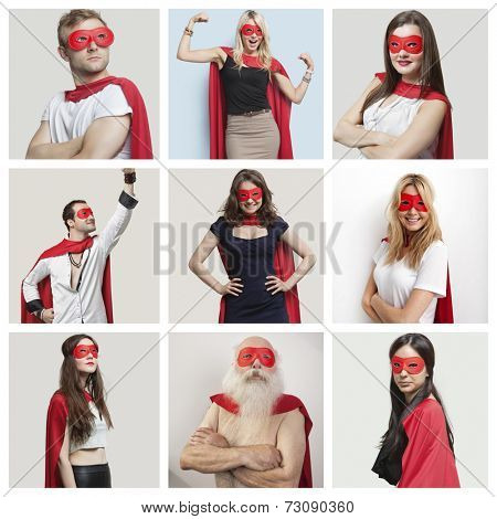 Collage of confident people wearing superhero costumes