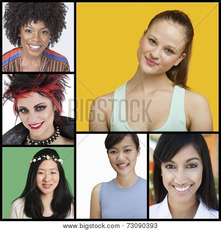 Collage of attractive women of different ethnicities