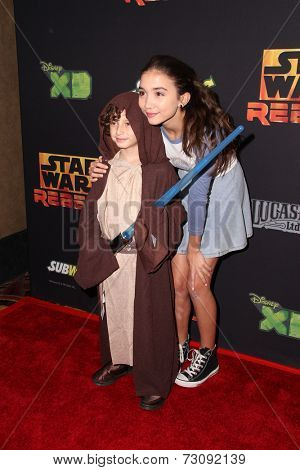 LOS ANGELES - SEP 27:  August Maturo, Rowan Blanchard at the