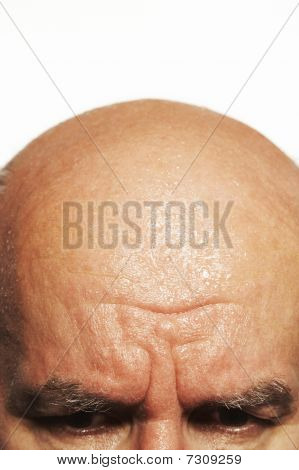 Eyes and head of middle-aged man