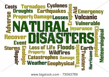 Natural Disasters word cloud on white background