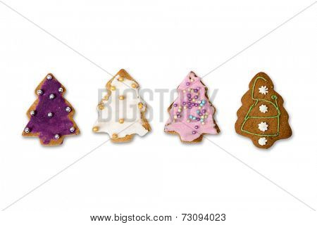 Homemade christmas gingerbread cookies on a white background with clipping path