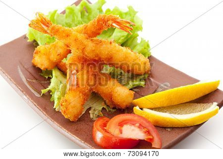 Japanese Cuisine - Ebi Tempura with Vegetables