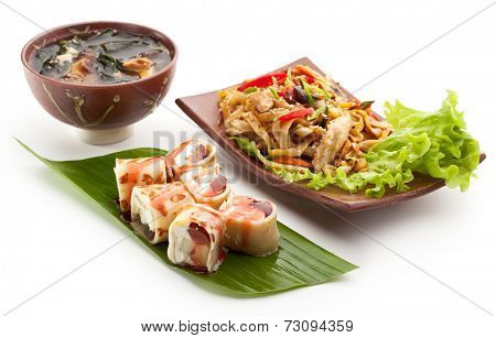 Japanese Meal - Noodles with Chicken, Dessert Fruit Maki Sushi and Miso Soup
