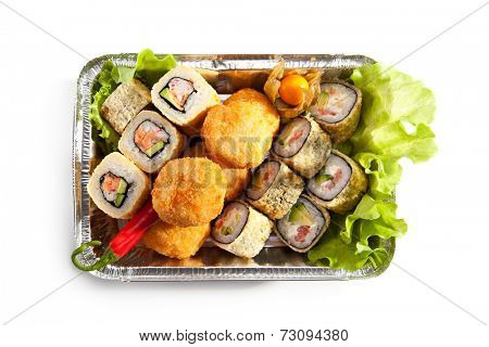 Tempura Maki Sushi Set over White