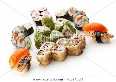 Sushi Set - Different Types of Maki Sushi and Nigiri Sushi