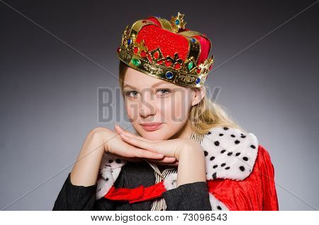 Woman queen businesswoman in funny concept