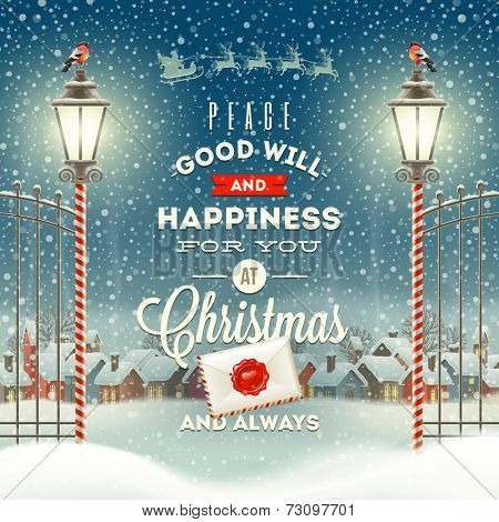 Christmas greeting type design with vintage street lantern against a evening rural winter landscape  poster