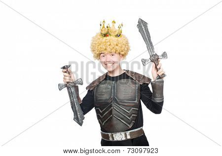 Funny king with sword isolated on white