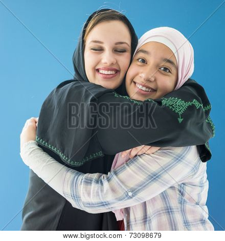 Beautiful girls with a hijab together
