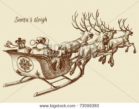 Santa Claus reindeer sleigh sketch