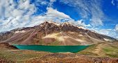 picture of himachal pradesh  - Panorama of mountain lake Chandra Tal in Himalayas - JPG