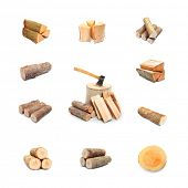 stock photo of firewood  - Great collection of firewood on white background - JPG